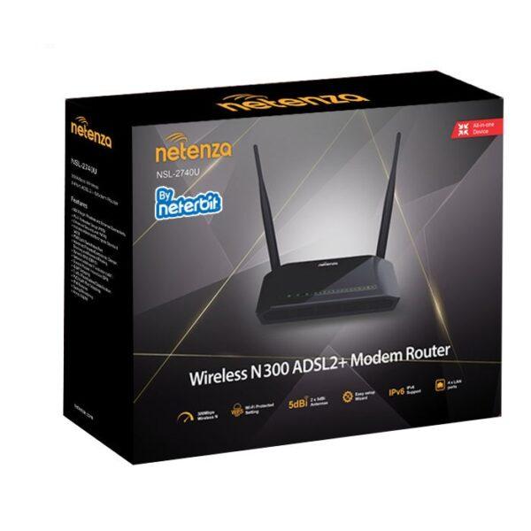 Netenza NSL-2740U Wireless N300 ADSL2+ Modem   مودم اي دي اس ال نتربيت